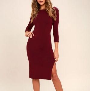 Lulu's Elegant Artisty Burgundy Bodycon dress